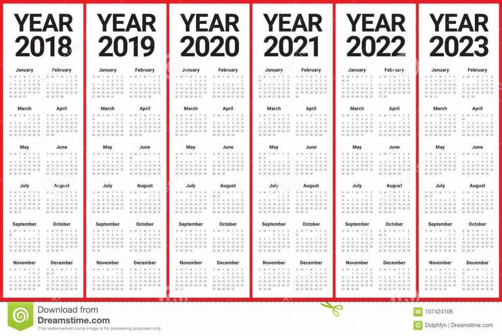 2018 2019 2020 2021 2022 2023 calendar next 5 year calender