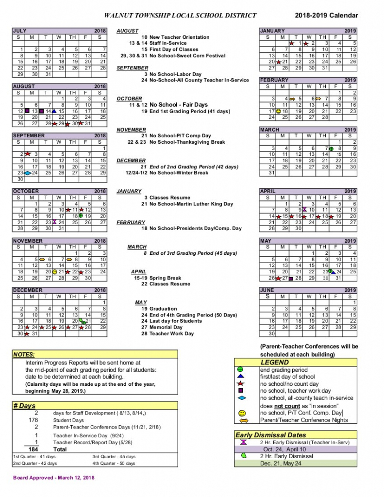 2018 2019 district calendar walnut township local schools calendar with total day counts