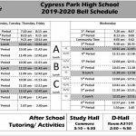 2019 2020 Bell Schedule Cypress Park High School Cy Fair Isd Spring Break 2020