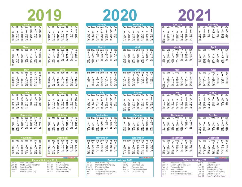 2019 to 2021 3 year calendar printable free pdf word image multi year calendars to download