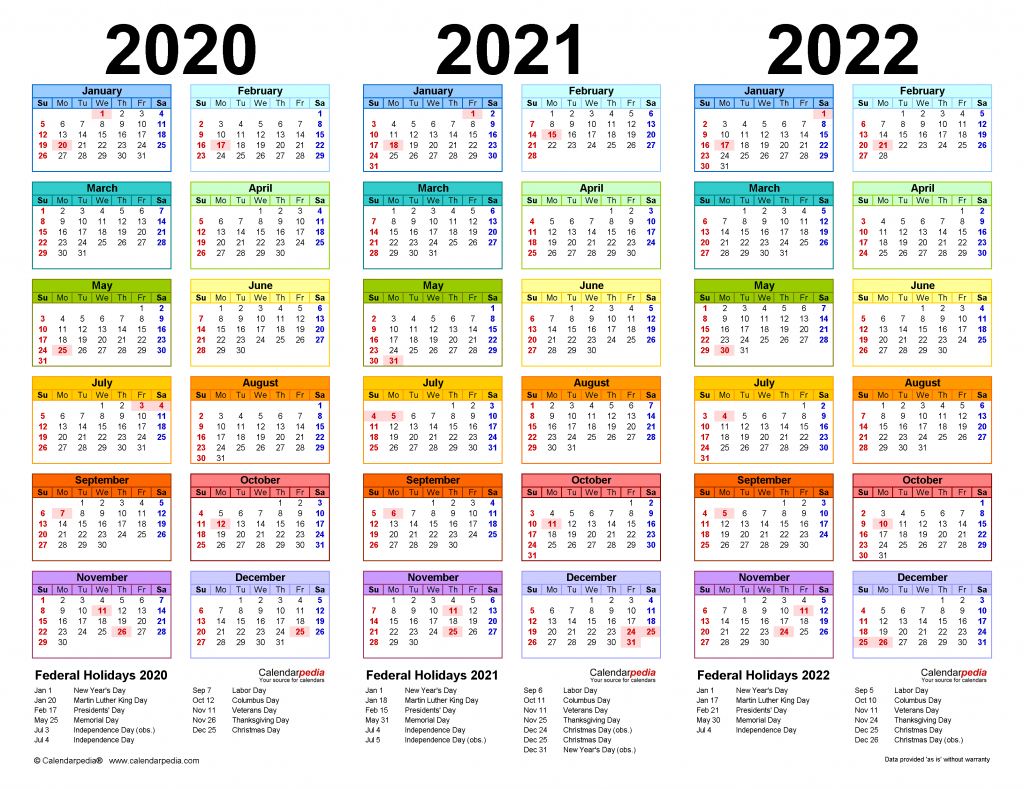 2020 2022 three year calendar free printable excel templates multi year calendars to download