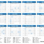 2020 Calendar Calendar With Total Day Counts