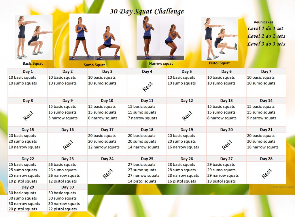 30 day challenge eunicakes the 30 day squat challenge follow along calendar