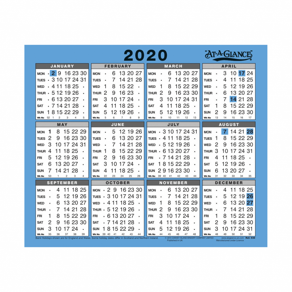 At A Glance 2020 Walldesk Calendar Year To View Gloss Board Binding 254x210mm Whiteblue Ref 930 2020 At A Glance Desk Calendar 2020