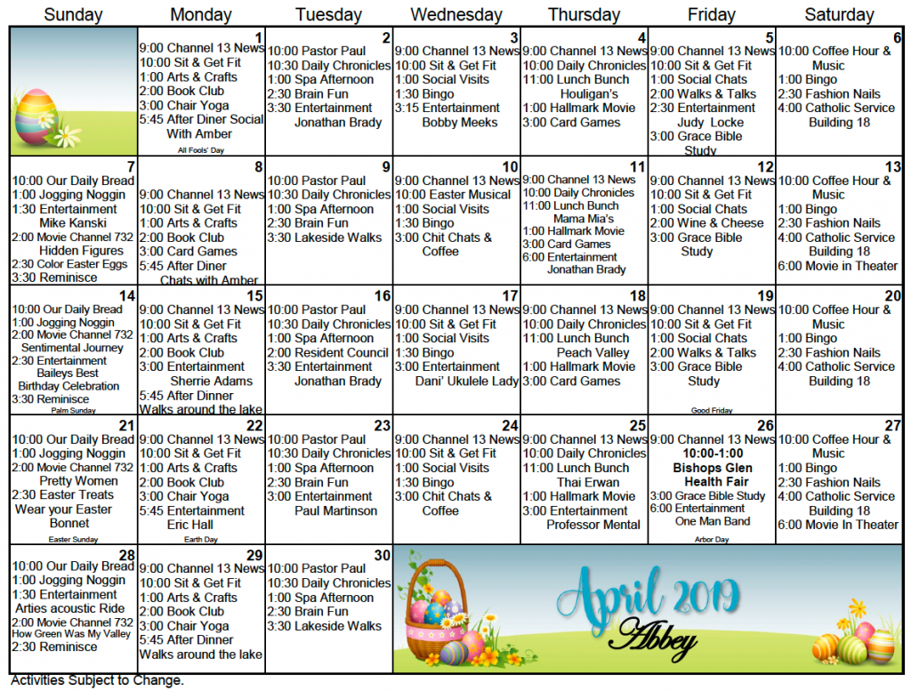 bishops glen retirement center activity calendar for april calendar for retirement