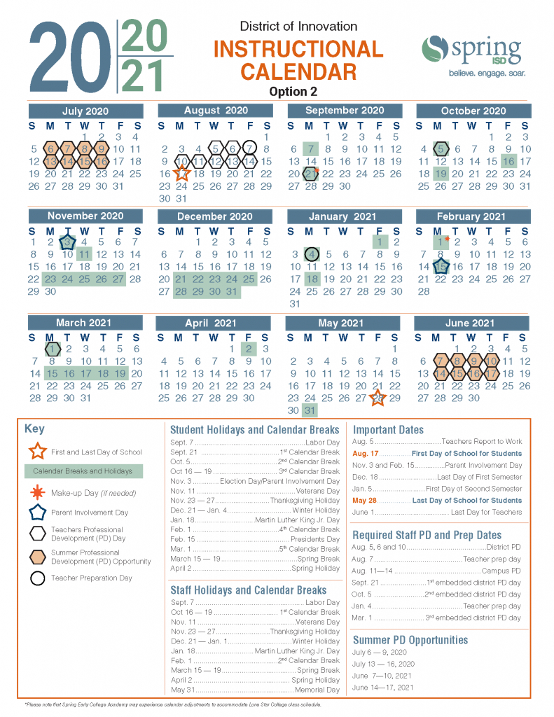 calendar survey 2020 21 instructional calendar cy fair isd spring break 2020
