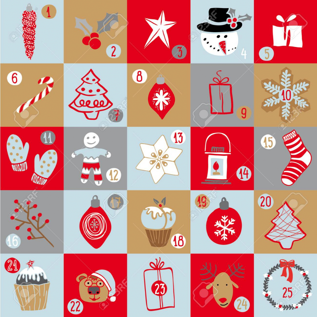 christmas advent calendar bright holiday countdown in cartoon style childish background with christmas tree ornaments sweets bear deer snowman picture holiday countdown calendar