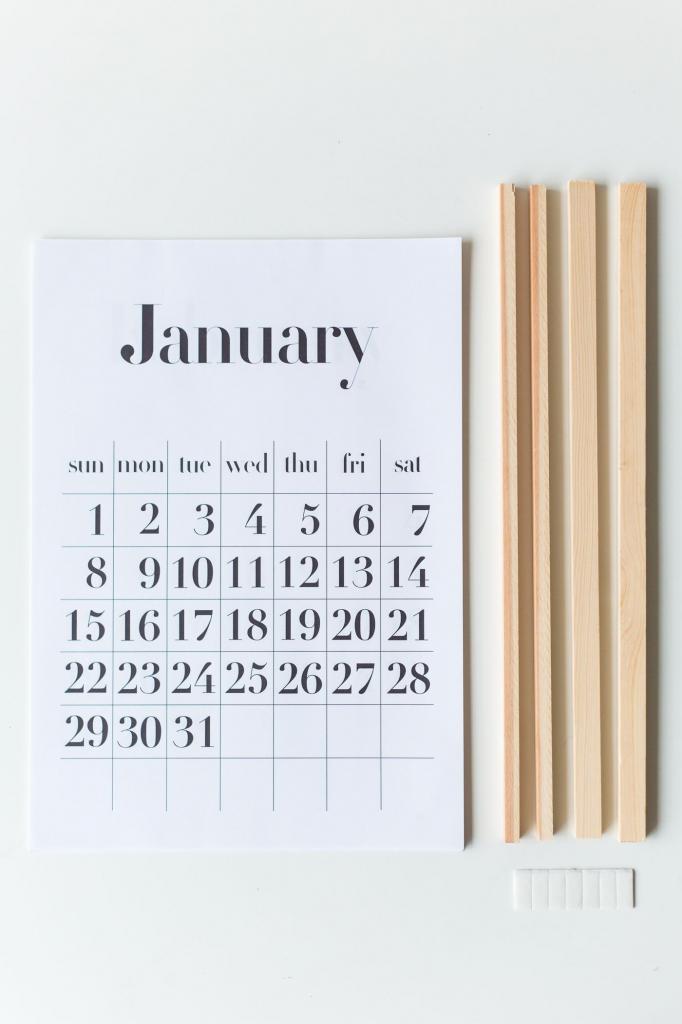 diy calendar wall stand free a4a3 printable calendar day count kalender
