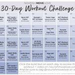 Free 30 Day Workout Challenge Workout Calendar Nourish 30 Day Squat Challenge Calendar