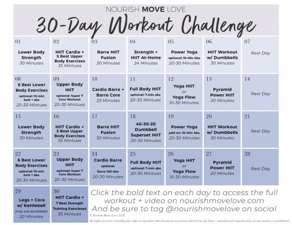free 30 day workout challenge workout calendar nourish 30 day squat challenge calendar