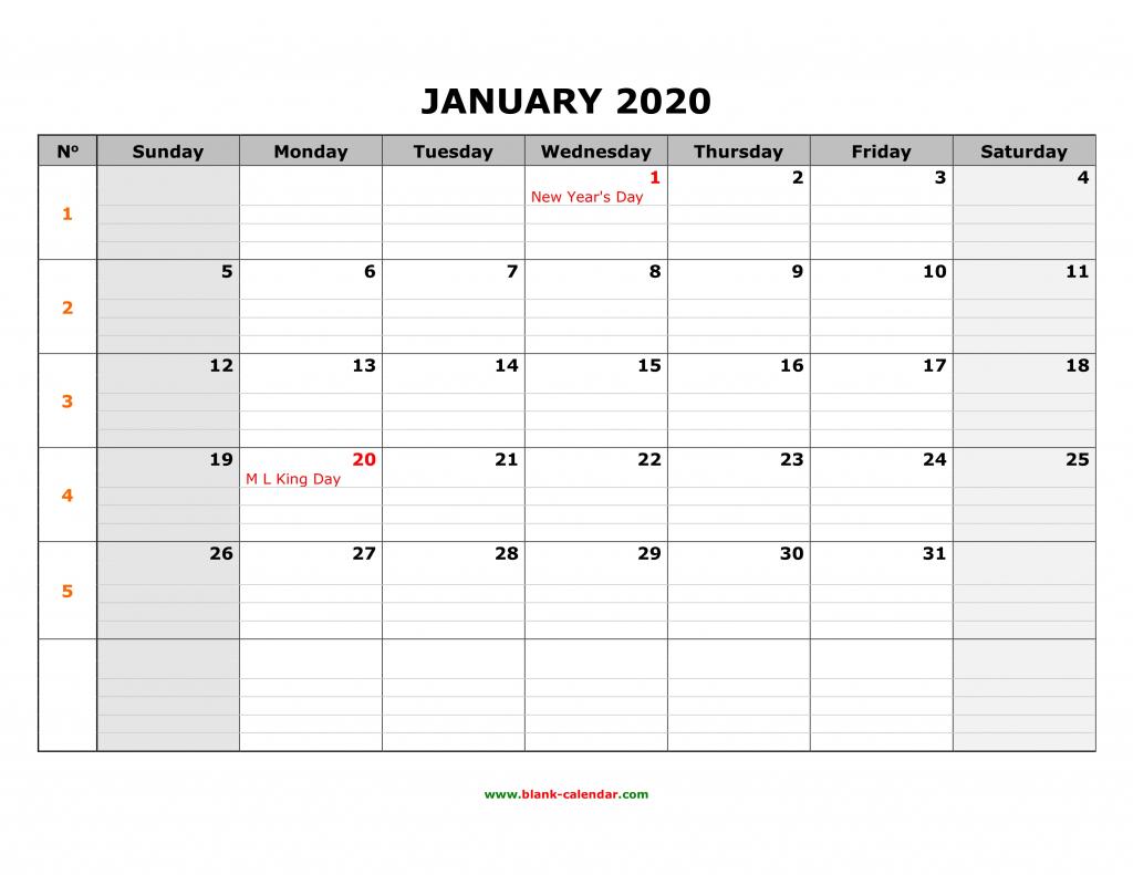free download printable calendar 2020 large box grid space printable calendar with lines free