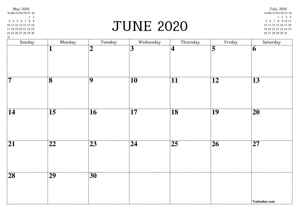 free printable blank monthly calendar and planner for june 2020 printable calendar by month