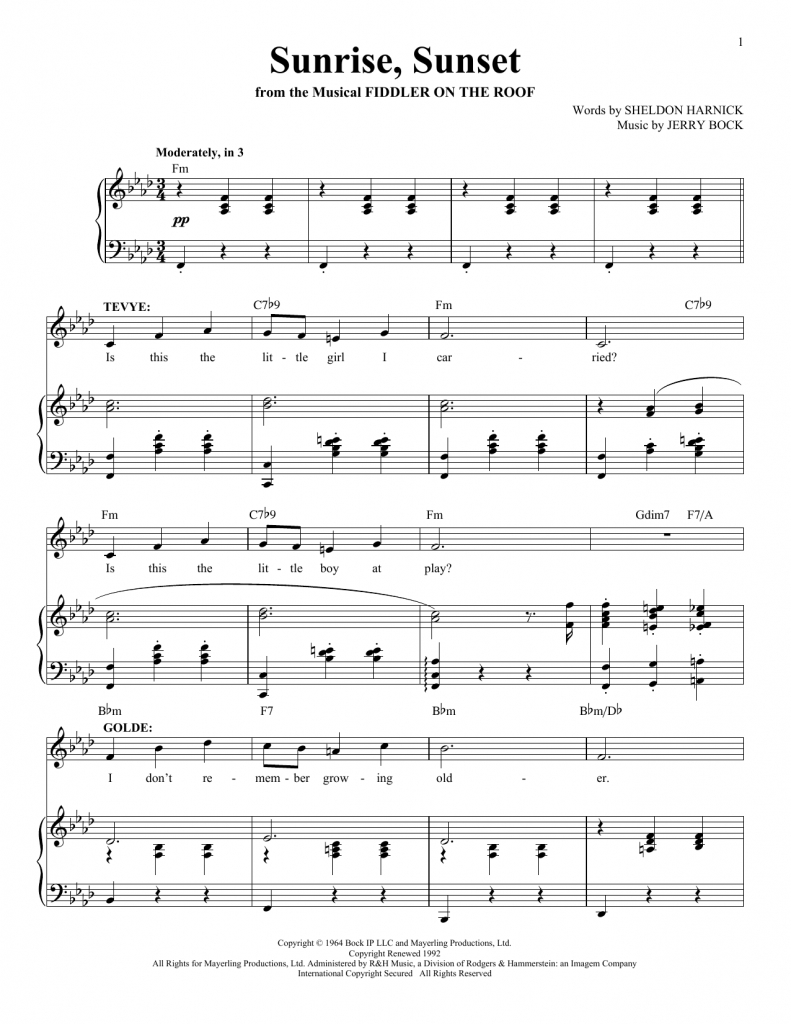 jerry bock sunrise sunset sheet music notes chords download printable piano vocal sku 161432 find printable sunrise sunset guide