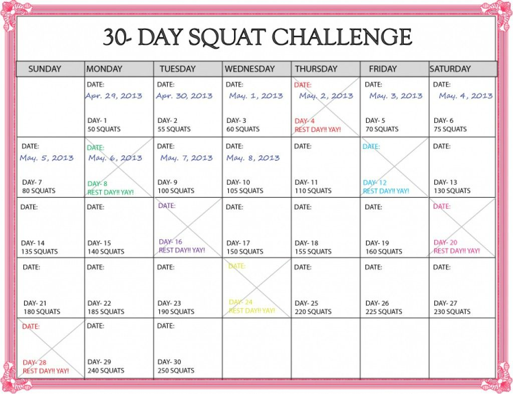 lovely 30 day squat challenge printable calendar 30 day squat challenge calendar