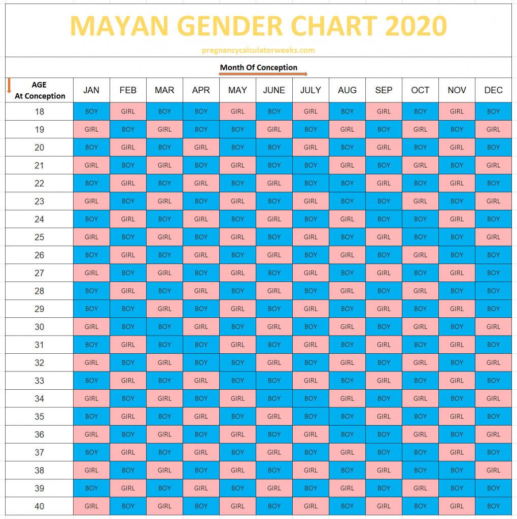 mayan ba gender predictor chart calendar 2020 mayan predictions 2020