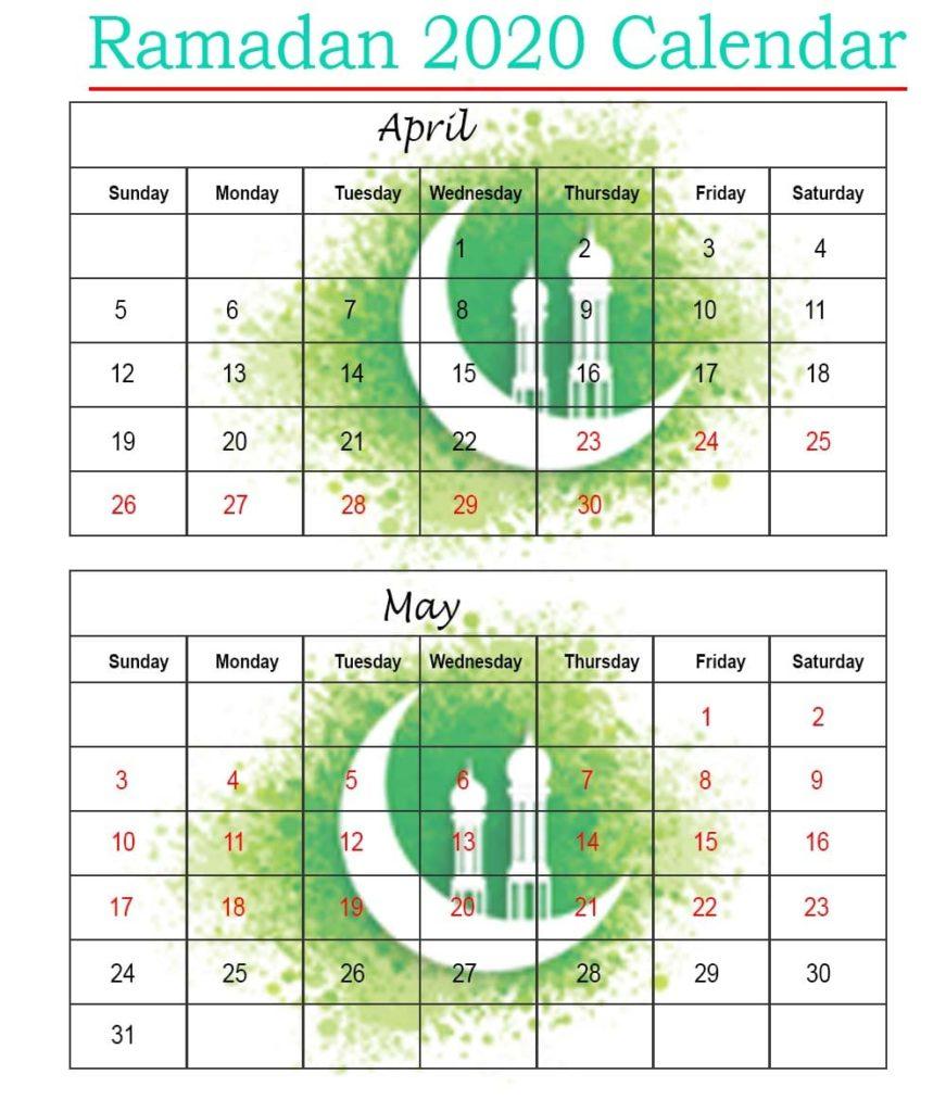 printable 2020 ramadan calendar with prayer times ramzan ramadan in usa 2020 calendar 1