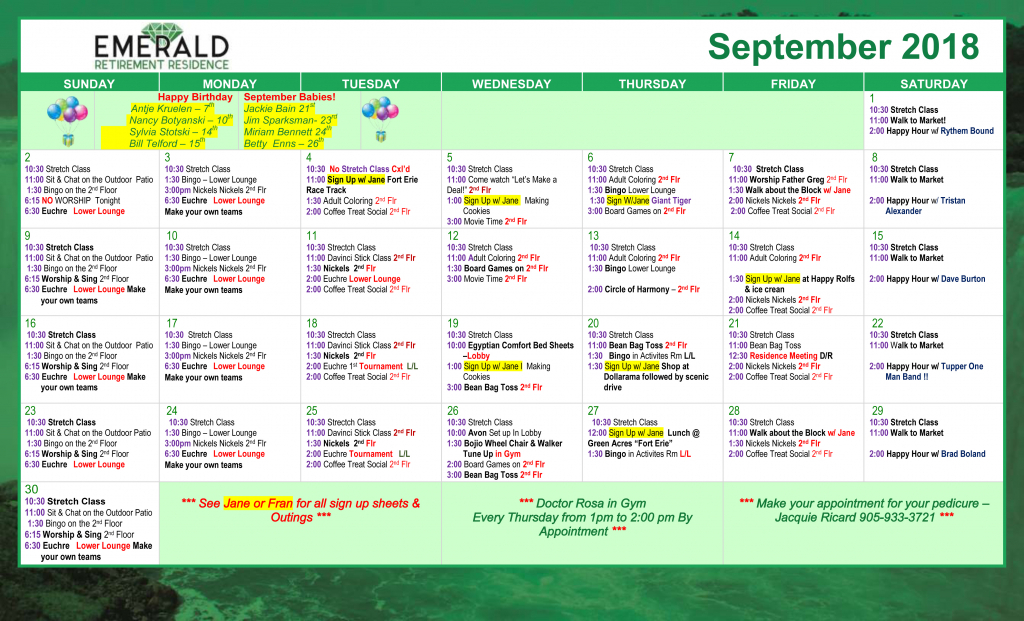 Retirement Life Activities Emerald Residence Calendar For Retirement