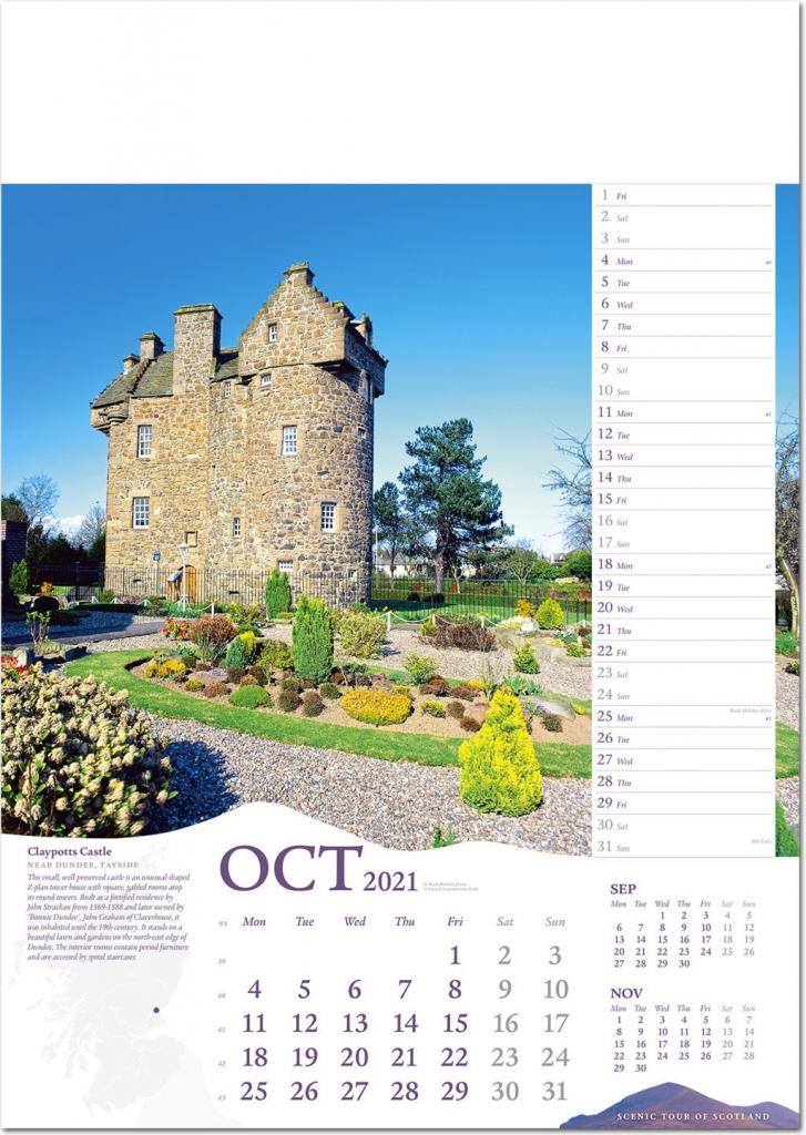 scenic tour of scotland calendar 2021 rose calendars scots october lawn schedule