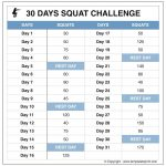 Squat Challenge Chart For Beginners Printable Squat Challenge Printable