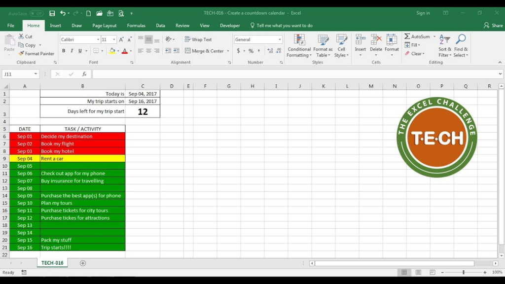 tech 016 create a countdown calendar and combine it with conditional formatting for each task calendar with total day counts