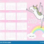 Unicorn Calendar For 2020 Year Stock Vector Illustration My Little Pony Calendar 2020 Printable