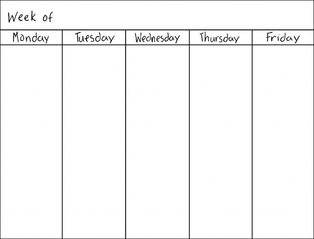 weekly calendar 5 day 5 day week blank calendar printable prinatble days of the week calender