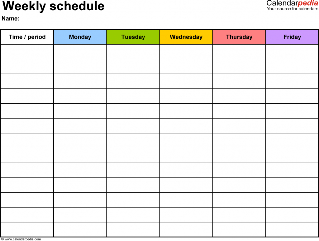 weekly schedule template for word version 1 landscape 1 one week empty schedule template