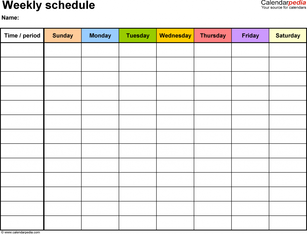 Weekly Schedule Template For Word Version 13 Landscape 1 One Week Empty Schedule Template