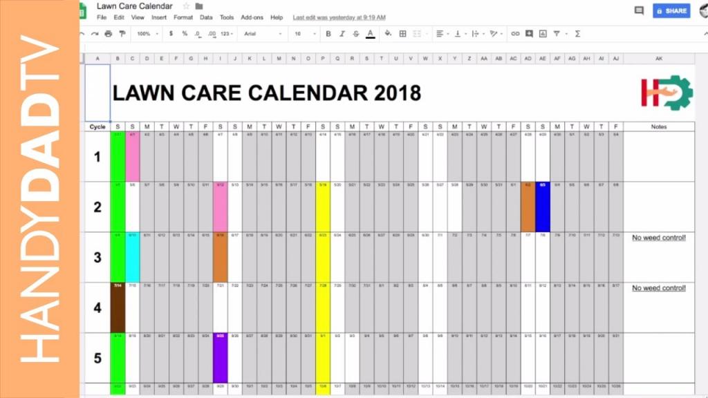 2018 lawn care calendar lawn care schedule spreadsheet
