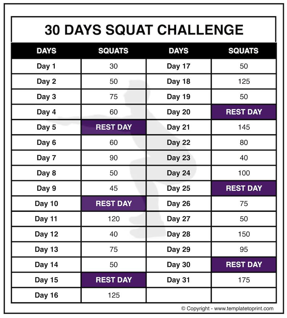 30 day squat challenge printable calendar template to print 30 squat challenge calendar