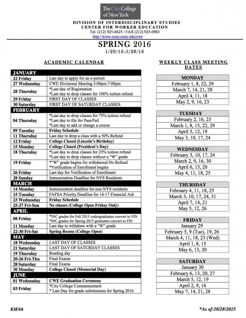 academic calendar the city college of new york suny old westbury academic calendar