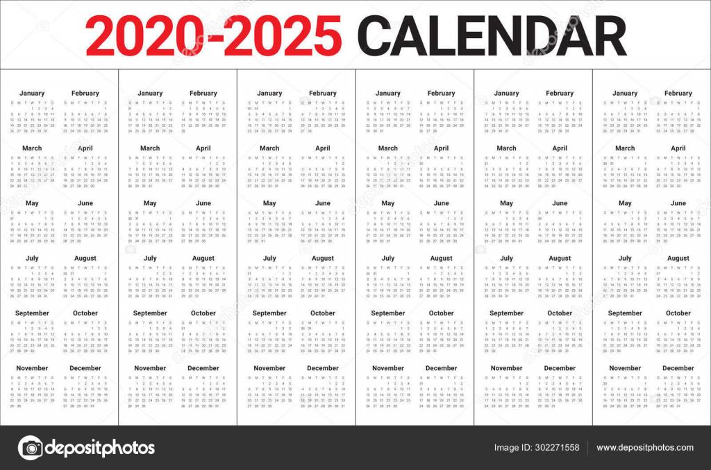 calendar 2022 calendar 5 year