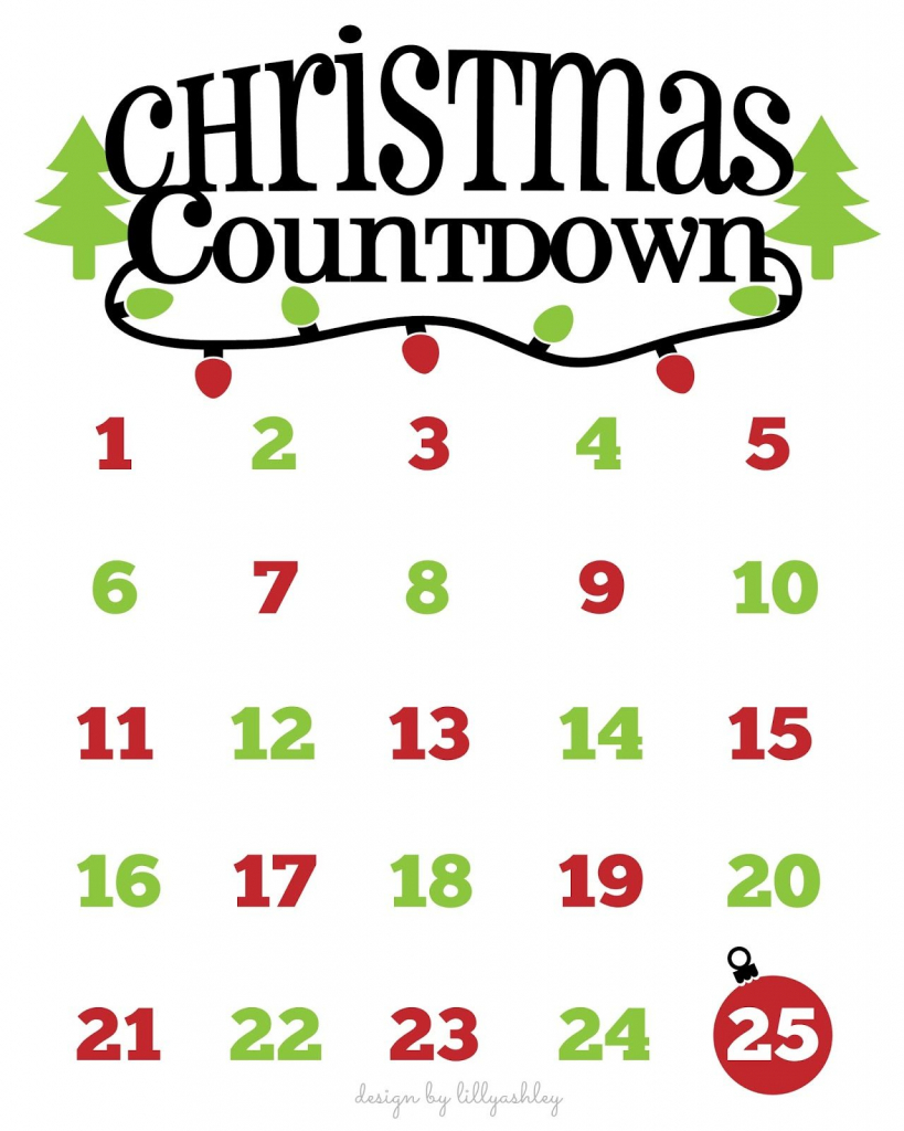 Christmas Countdown Free Printable And Free Svg Christmas Free Christmas Countdown Calendar