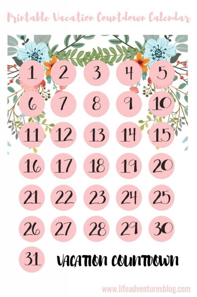 Countdown Calendar Printable Vacation Free Calendar Holiday Countdown Template Printable