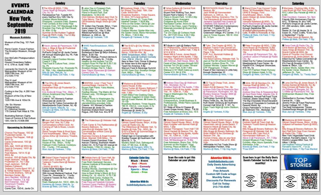 daily deets events calendar for new york september 2019 meadowlands free market calendar