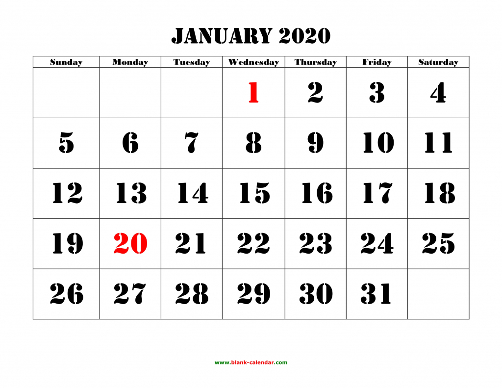 free download printable calendar 2020 large font design large printable 2020 calendar by month
