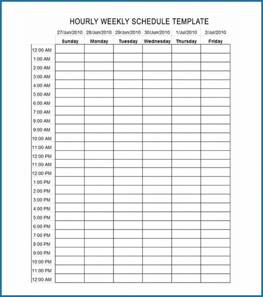 Free Editable Schedule Template Hourly Templateral Weekly Calender Schedule Hourly