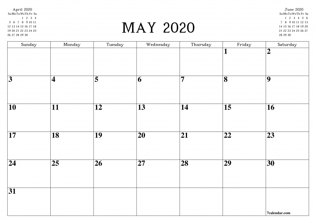 free printable blank monthly calendar and planner for may organiser calendar template
