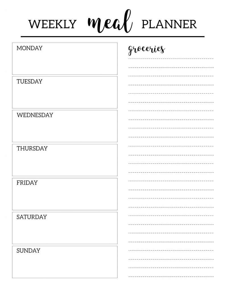 free printable meal planner template free printable meal meal planning template