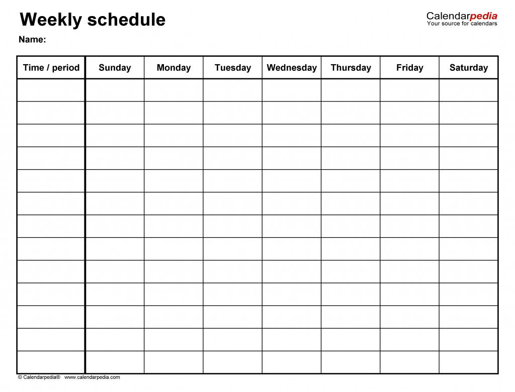 free weekly schedule templates for word 18 templates six week calendar printable pdf no weekend