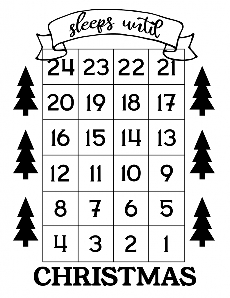 how many days until christmas free printable paper trail countdown to christmas 2020 printable