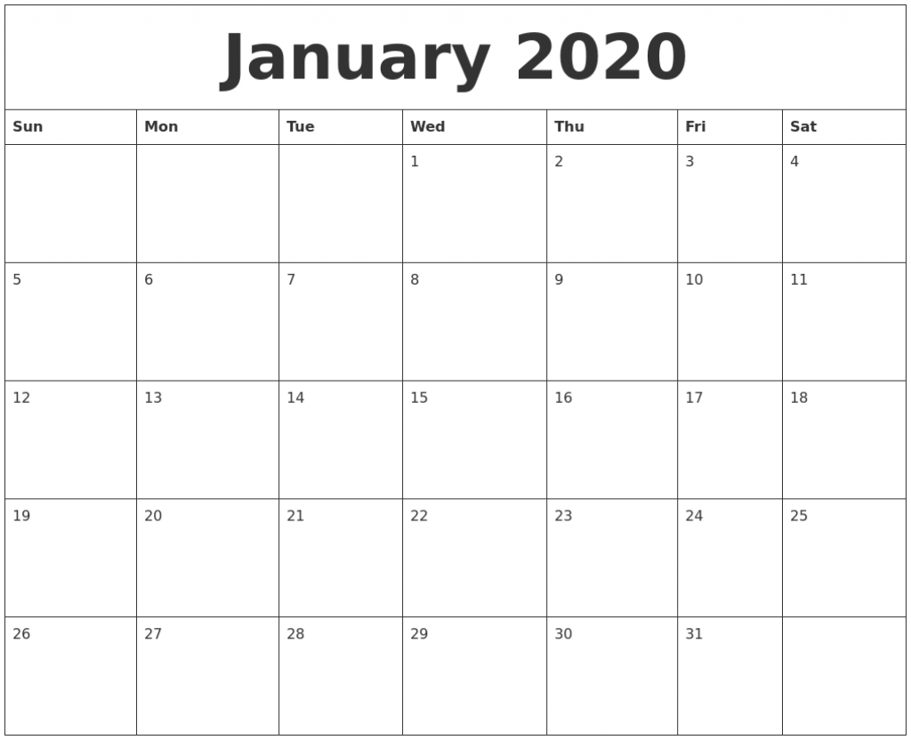 january 2020 large printable calendar large printable 2020 calendar by month