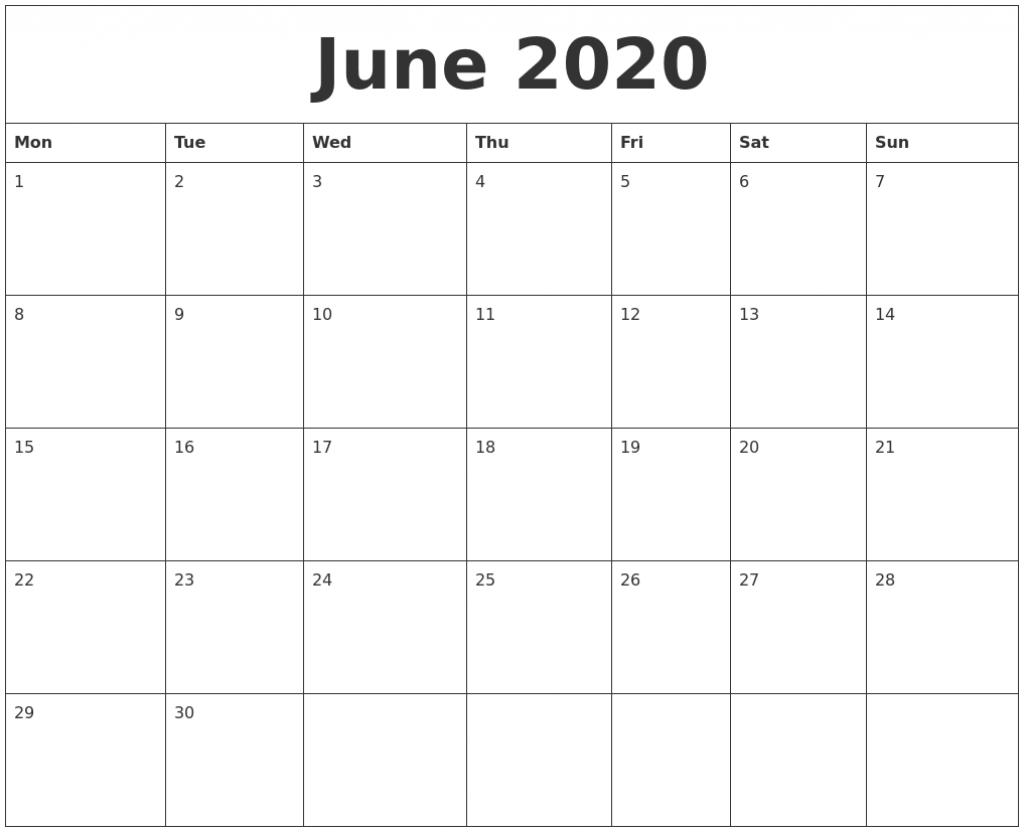 June 2020 Large Printable Calendar Large Printable 2020 Calendar By Month