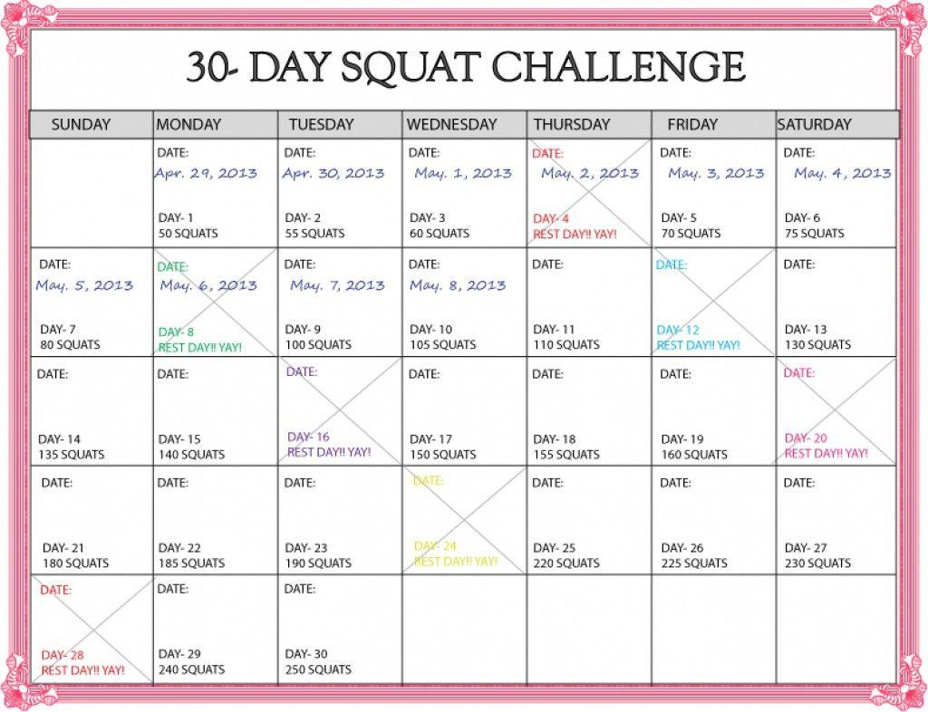 Lovely 30 Day Squat Challenge Printable Calendar 30 Day Squat Challenge Printable Pdf