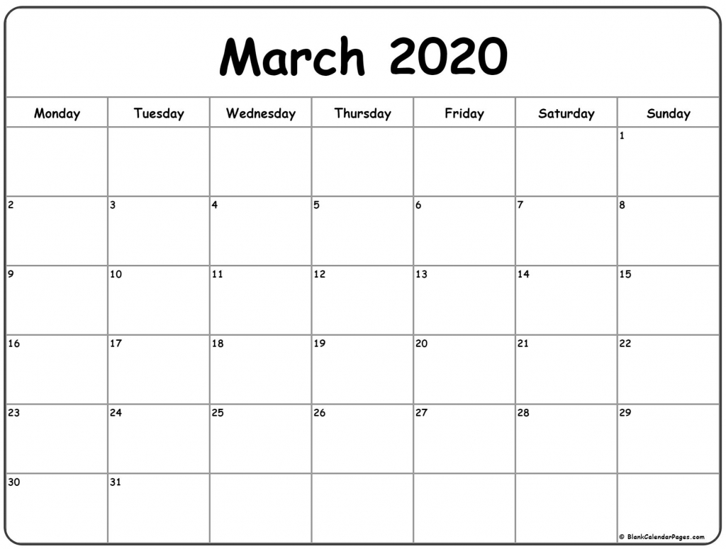 March 2020 Monday Calendar Monday To Sunday Calendar Starting With Monday