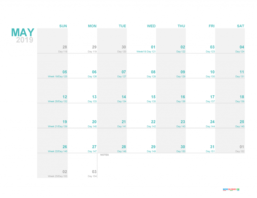 may 2019 printable monthly calendar template with day count day counter for calendar