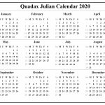 Quadax Julian Calendar 2020 Printable Calendar Diy 2020 Quadax Calendar