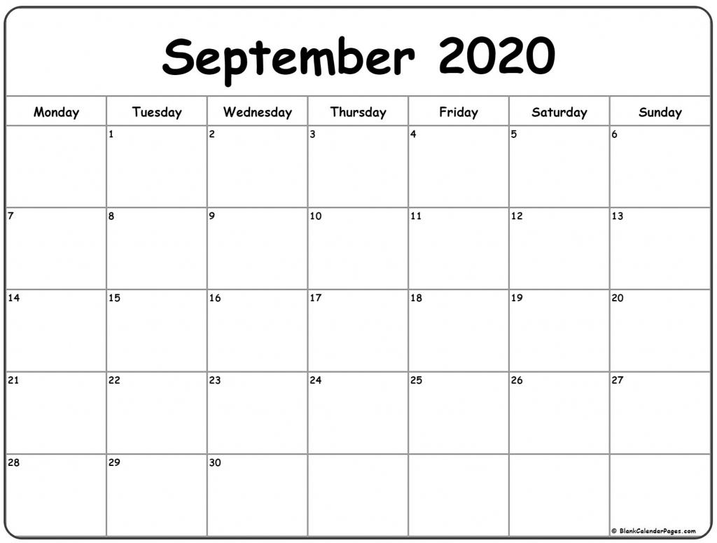 September 2020 Monday Calendar Monday To Sunday Calendar Starting With Monday