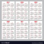 Set Of Calendar Grid For Years 2017 2022 10 Years Calener