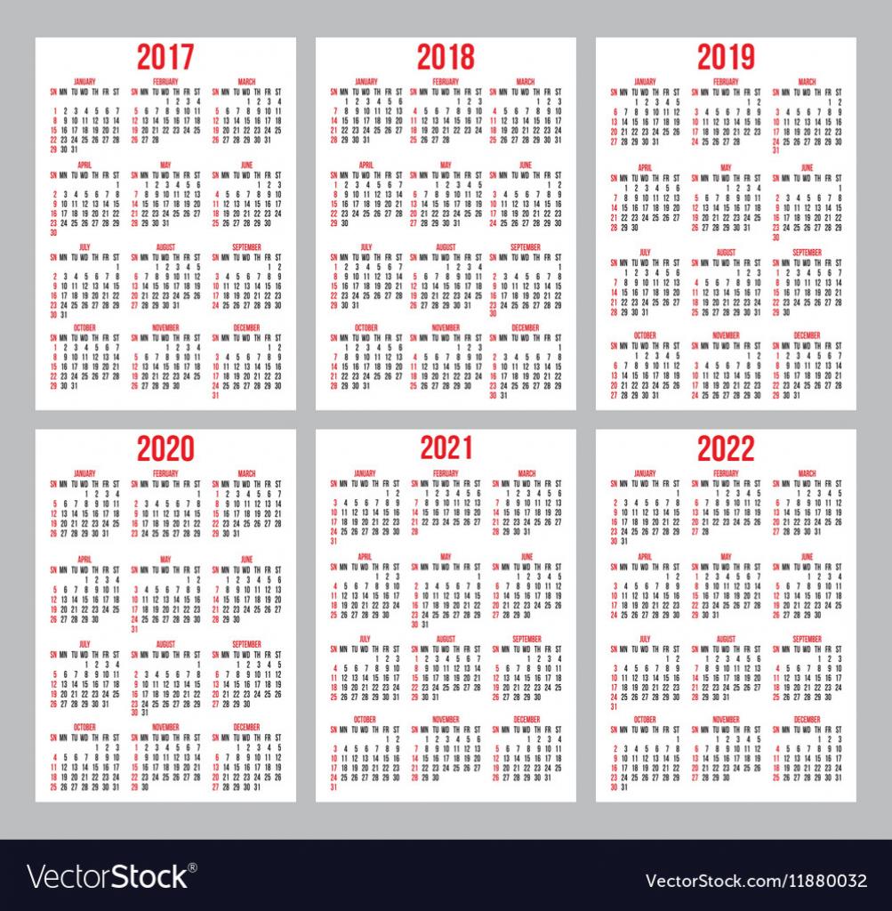 set of calendar grid for years 2017 2022 10 years calener